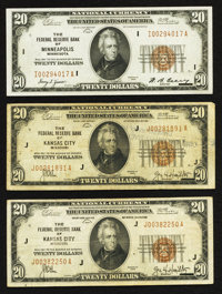 Three $20 1929 Federal Reserve Bank Notes. Fine to Extremely Fine
