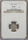 Seated Half Dimes: , 1857 H10C XF45 NGC. NGC Census: (11/663). PCGS Population (21/541).Mintage: 7,280,000. Numismedia Wsl. Price for problem f...