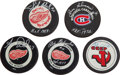 Hockey Collectibles:Others, Hockey Greats Signed Pucks Lot of 5....