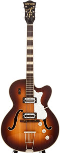 Musical Instruments:Electric Guitars, 1970s Hofner Sunburst Archtop Electric Guitar, #55850....