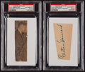Baseball Collectibles:Others, Elston Howard Signed Cut Signatures Lot of 2....