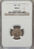 Three Cent Nickels: , 1881 3CN MS62 NGC. NGC Census: (76/296). PCGS Population (67/374).Mintage: 1,080,575. Numismedia Wsl. Price for problem fr...