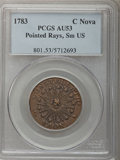 Colonials, 1783 COPPER Nova Constellatio Copper, Pointed Rays, Small US AU53 PCGS. Crosby 2-B, W-1865, R.2....