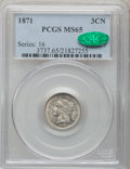 Three Cent Nickels, 1871 3CN MS65 PCGS. CAC....