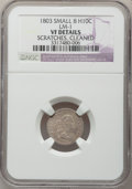 Early Half Dimes, 1803 H10C Small 8 -- Scratches, Cleaned -- NGC Details. VF. V-3,LM-1, R.5....