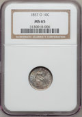 Seated Dimes, 1857-O 10C MS65 NGC. Large O....