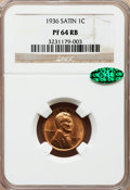 Proof Lincoln Cents, 1936 1C Type One--Satin Finish PR64 Red and Brown NGC. CAC. NGC Census: (44/29). PCGS Population (75/30). Mintage: 5,569. N...