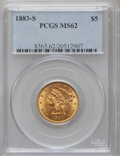 Liberty Half Eagles: , 1883-S $5 MS62 PCGS. PCGS Population (49/32). NGC Census: (38/26).Mintage: 83,200. Numismedia Wsl. Price for problem free ...