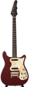 Musical Instruments:Electric Guitars, 1965 Epiphone Olympic Cherry Solid Body Electric Guitar,#278620....