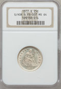 Seated Quarters, 1877-S 25C S Over Horizontal S MS64 NGC. FS-501....