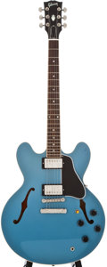 Musical Instruments:Electric Guitars, 1986 Gibson ES-336 Metallic Blue Semi-Hollow Body Electric Guitar,#90576310....