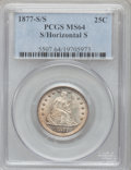 Seated Quarters, 1877-S 25C Over Horizontal S MS64 PCGS. FS-501....