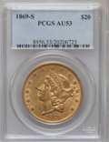 Liberty Double Eagles: , 1869-S $20 AU53 PCGS. PCGS Population (72/170). NGC Census:(170/594). Mintage: 686,750. Numismedia Wsl. Price for problem ...
