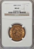 Liberty Eagles: , 1885-S $10 MS62 NGC. NGC Census: (243/73). PCGS Population(244/80). Mintage: 228,000. Numismedia Wsl. Price for problem fr...