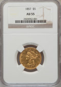 Liberty Half Eagles: , 1857 $5 AU55 NGC. NGC Census: (50/164). PCGS Population (35/65).Mintage: 98,180. Numismedia Wsl. Price for problem free NG...