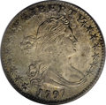 Early Half Dimes: , 1797 H10C 15 Stars MS63 PCGS. LM-1, V-2, R.3. The mintage of the1797 half dime, 44,527 pieces, represents more than four t...