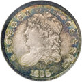 Proof Bust Half Dimes: , 1836 H10C Large 5C PR66 NGC. V-5, LM-1, R.5. Scarce as a die marriage, and extremely rare as a proof. This present piece wa...