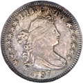 Early Dimes: , 1797 10C 13 Stars AU58 NGC. JR-2, R.4. Both sides of this pleasingnear-Mint example have light gray and gold color with da...
