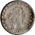 Early Dimes: , 1803 10C AU55 PCGS. JR-4, R.5. The variety is attributed by the 3in the date that tilts right, and has its top parallel to...