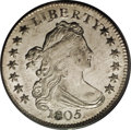 Early Dimes: , 1805 10C 5 Berries MS64 PCGS. JR-1, R.3. The scarcer of the two diemarriages for the date. Both varieties are listed separ...