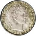 Barber Quarters: , 1901-S 25C MS65 PCGS. Except for the nearly uncollectible 1894-S dime, the 1901-S quarter is the rarest date within the Bar...