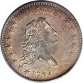 Early Half Dollars: , 1794 50C AU58 PCGS. O-106, R.6. This variety is confirmed by thefollowing: on the obverse, star 2 is attached to the lowes...