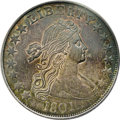 Early Half Dollars: , 1801 50C AU58 PCGS. O-101, R.3. This is the first year of issue forthe new design with the Heraldic Eagle reverse, and it ...