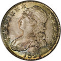 Bust Half Dollars: , 1827/6 50C MS66 NGC. O-102, R.1. The underdigit 6 is bold, withcurves above and to the right of the prominent 7. A gorgeou...