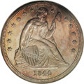 Proof Seated Dollars: , 1844 $1 PR64 NGC. As one would expect, the 1844 Seated dollar is arare coin in proof format....