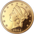 Proof Liberty Double Eagles, 1864 $20 PR65 ★ Ultra Cameo NGC. CAC....
