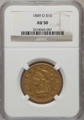 Liberty Eagles: , 1849-O $10 AU50 NGC. NGC Census: (5/41). PCGS Population (4/12).Mintage: 23,900. Numismedia Wsl. Price for problem free NG...