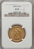 Liberty Eagles: , 1852-O $10 XF45 NGC. NGC Census: (24/61). PCGS Population (20/34).Mintage: 18,000. Numismedia Wsl. Price for problem free ...