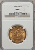 Liberty Eagles: , 1888-S $10 MS63 NGC. NGC Census: (78/6). PCGS Population (117/3).Mintage: 648,700. Numismedia Wsl. Price for problem free ...