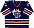 Hockey Collectibles:Uniforms, 1996-97 Mike Grier Game Worn Edmonton Oilers Jersey....