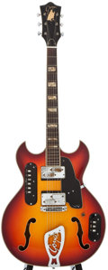 Musical Instruments:Electric Guitars, Late 1960's Goya Rangemaster Sunburst Semi-Hollow Body ElectricGuitar, Serial Number #N4755....