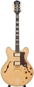 Musical Instruments:Electric Guitars, Epiphone Sheraton Natural Semi-Hollow Body Electric Guitar, SerialNumber #S9202565....
