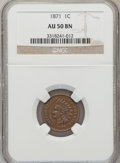 Indian Cents, 1871 1C AU50 Brown NGC. NGC Census: (16/272). PCGS Population(40/227). Mintage: 3,929,500. Numismedia Wsl. Price for probl...