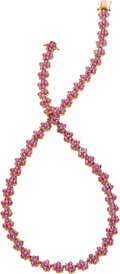Estate Jewelry:Necklaces, Pink Sapphire, Diamond, Pink Gold Necklace. ...