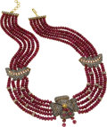 Estate Jewelry:Necklaces, Ruby, Diamond, Silver-Topped Gold Necklace. ...