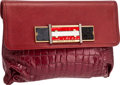 Luxury Accessories:Bags, Marc Jacobs Rare Deep Red Matte Crocodile Clutch. ...