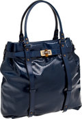 Luxury Accessories:Bags, Lanvin Rare Dark Blue Patent Leather Large Kansas Bag. ...