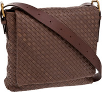 Bottega Veneta Taupe Classic Woven Leather Medium Interacciato Messenger Bag