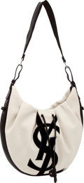 Luxury Accessories:Bags, Yves Saint Laurent Beige and Black Canvas, Leather, and VelvetMedium Hobo with Silver Hardware. ...
