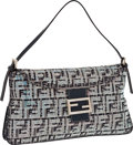 Fendi Navy Blue Jeweled Monogram Canvas Baguette with Silver Hardware