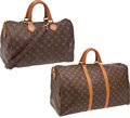 Luxury Accessories:Travel/Trunks, Set of two: Louis Vuitton by The French Co. Vintage Classic Monogram Canvas Speedy and Keepall with Silver Hardware. ... (Total: 2 Items)