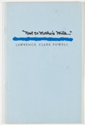 """Books:Books about Books, Lawrence Clark Powell. LIMITED. """"Next to Mother's Milk..."""".Washington: Library of Congress, 1987. First edition, ..."""