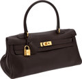 Luxury Accessories:Bags, Hermes 40cm Chocolate Clemence Leather Shoulder Kelly with GoldHardware. ...