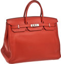 Luxury Accessories:Bags, Hermes 40cm Coq de Roche Clemence Leather Birkin Bag with PalladiumHardware. ...