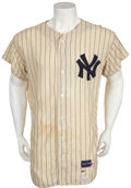 Baseball Collectibles:Uniforms, 1966-68 Mickey Mantle Game Worn Jersey with Extensive and ImportantPhoto Matching....