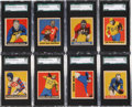 Football Cards:Lots, 1949 Leaf Football SGC-Graded Collection (13). ...